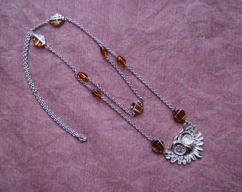 OWL head necklace brown beads