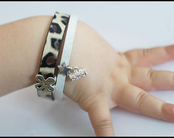 White faux leather glitter and Leopard print bracelet