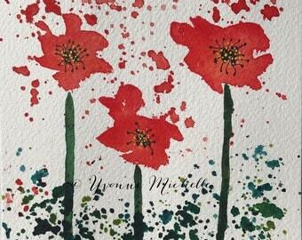 Poppies No. 012 - Original Watercolor Painting, Floral, Art, Wall Decor