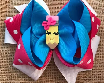 """4"""" Pink Bow Pencil Hairbow"""