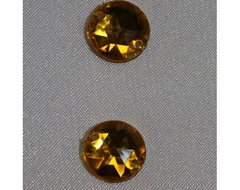 round rhinestones - 11 mm-yellow
