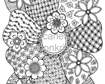 Zendoodle Flower Coloring Page Instant Download