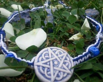 Handmade White and Blue Pentagram Necklace