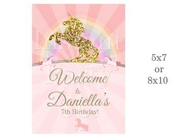 Unicorn welcome sign | Unicorn birthday welcome sign | Unicorn and rainbow welcome sign