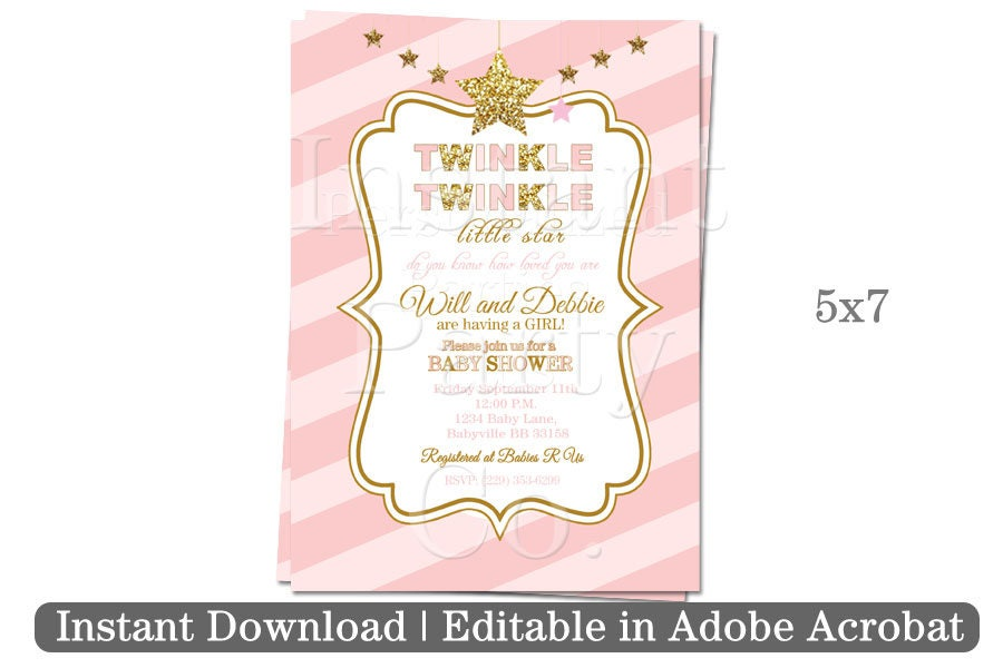 Twinkle twinkle little star baby shower invitation | Pink and gold ...