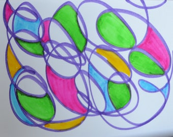 Blank Greeting Cards: Fling Spring Hand Drawn Pen and Ink