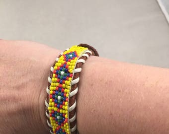 Seed Bead and Leather Bracelet