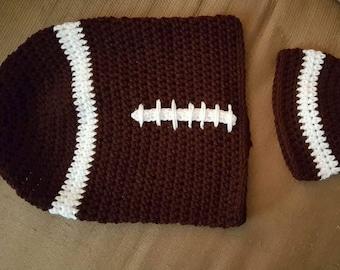 Crochet football newborn cocoon hat set photo prop