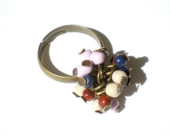 Summer multicolored beads cluster ring