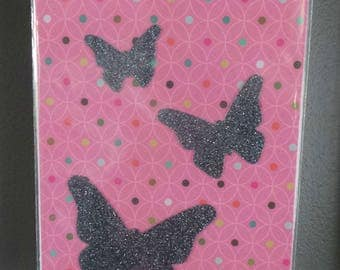 """""""Butterfly"""" grey glitter Thermo fabric patterns"""