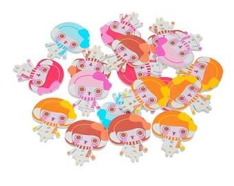 10 wooden buttons, 2 holes, little girl, Kawaii, 3.5 cm