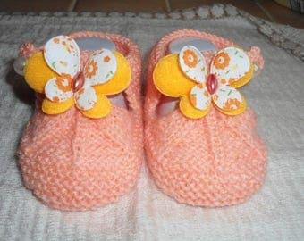 Baby wool sandalette salmon Butterfly shape