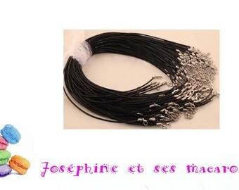 Black 1 necklace 46 cm faux leather