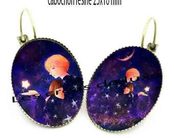 Earrings with cabochon resin 25 x 18 mm