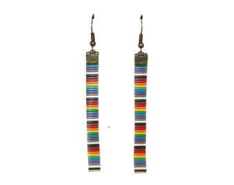 Multicolored recycled electronic wires earrings
