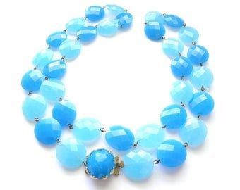 Free Delivery! Vintage West Germany 1960's Faceted Plastic Bead Necklace 70cm
