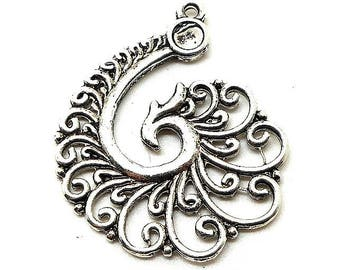 Spiral charm style silver Peacock tail