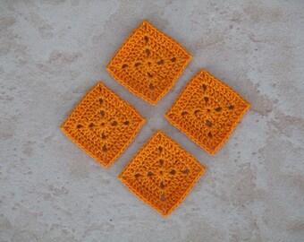 set of 4 square / orange grannys crochet