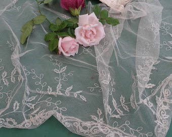 Wedding Veil lace needle old antique french Bridal Veil, vintage Wedding Veil, Bridal dress, Veil france 1920/30