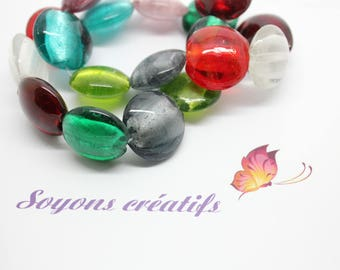 Lot 5 mixed color 20mm murano style glass round beads