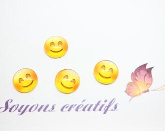 Lot 20 SC79929 pattern Emoji Smiley smile craft - 12mm glass Cabochons