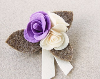 Brooch with rose-lilac and ivory cloth