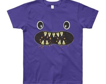 Om Nom Nom Monster Face munch creeper yum foodie Youth Short Sleeve T-Shirt