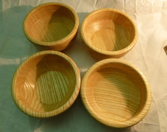 Set of 4 cups waxed wood - turning craft