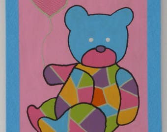 Painting on wood bear with colors