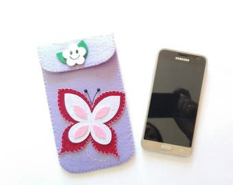 Violet felt mobile phone case with Butterfly mobile phone case in Violet felt with butterfly