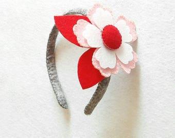 Headband for hair with felt flower.. Felt headband with Flower.