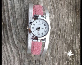 Pink and silver Bracelet Watch