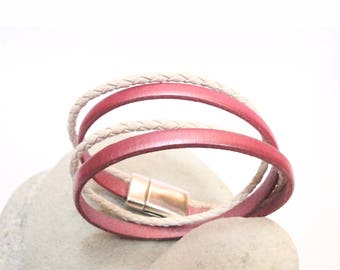 Pink and White Leather Cuff Bracelet small wrist