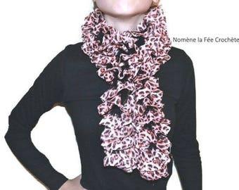 Fabric scarf, handmade knit tiered fancy