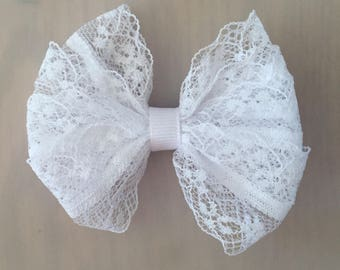 White lace and ribbon hair bow alligator clip