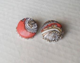 Earrings pink button earrings/silver white series
