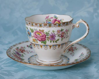Royal Grafton Malvern Floral Vintage Bone China Footed Cup and Saucer 1950's