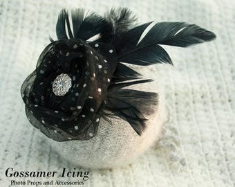 Victorian, Steampunk Black Feather Tieback