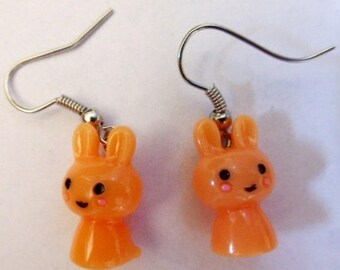 Earrings orange kawai rabbits H1.5cmxL1cm