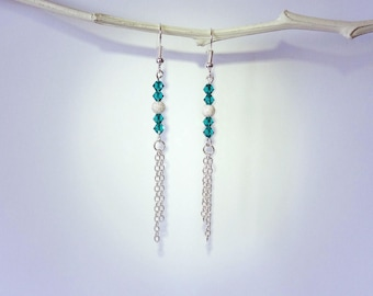 Earrings swarovski crystal and silver beads