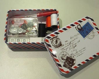 Travel sewing kit, in the metal box