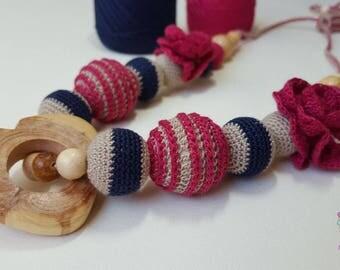 RoseBerry slingbeads/Organic Nursing Necklace/Teething Toy/Breastfeeding necklace
