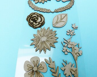 9 large wooden flower and leaves chipboard embellishment