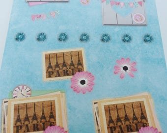 A4 sheet of pre-cut to assemble for cardmaking Paris Eiffel Tower 3D effect image frame heart and flag