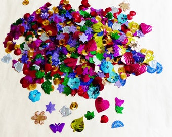 set of 80 grams of sequin 12 design 12 color mix glitter Bunny flower leaf Sun shell star Butterfly fan