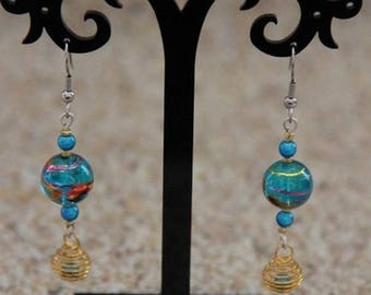 Earrings turquoise and Pearl spiral gold