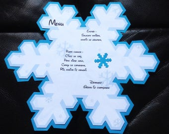 Menu with snowflake snow white and blue