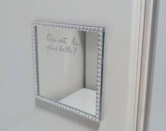 Mirror square or round 10 x 10 magnetized (personalization free) - engraving on the Tin