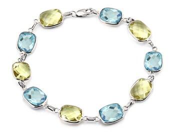 14K White Gold Gemstone Bracelet With Cushion Cut Blue Topaz And Lemon Quartz Link Stations