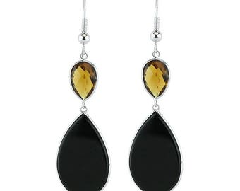 14K White Gold Drop Earrings With Pear Shaped Black Onyx And Smoky Quartz Gemstones
